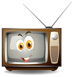 Retro television with happy face vector image