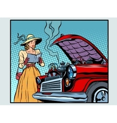Sad woman driver near a broken car vector image