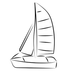 sailing boat sketch on white background vector image