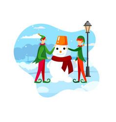 santa claus helpers playful elves making snowman vector image