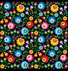 Seamless polish folk art floral pattern vector