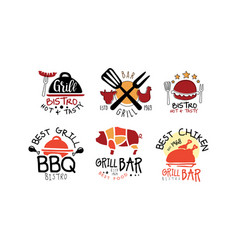set logos for grill bar vector image