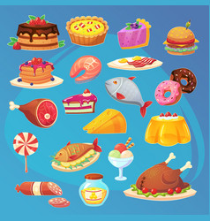 set of colorful cartoon food game web inventory vector image
