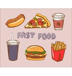 Set Of Colorful Fast Food Icons vector