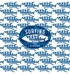 Shark seamless pattern and surfing emblem vector image