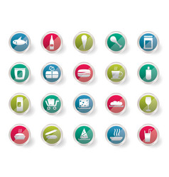 Shop and foods icons over colored background vector