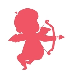 Silhouette of cupid valentine angel love child vector
