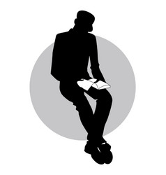 Silhouette of man sitting reading holding a book vector