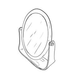 Sketch of desktop round mirror vector