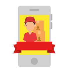 smartphone with delivery worker and boxes vector image