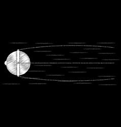 sputnik chalk drawing vector image