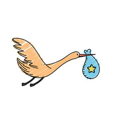 Stork bird with baby in the bag vector
