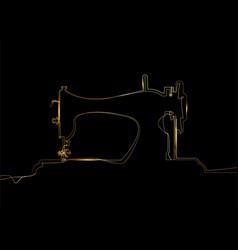 tailor logo gold single black line drawing vector image