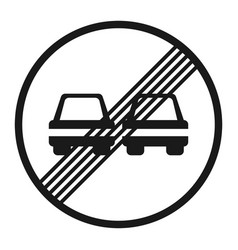 the end of prohibition overtaking sign line icon vector image