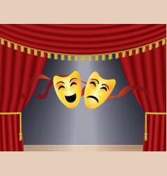 theater comedy and tragedy masks vector image