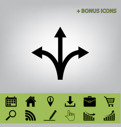 Three-way direction arrow sign black icon vector
