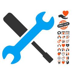 tools icon with love bonus vector image
