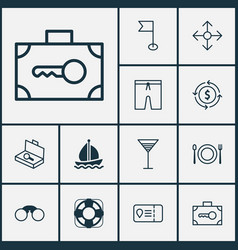 Tourism icons set with currency exchange vector