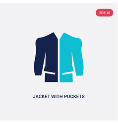 two color jacket with pockets icon from fashion vector image