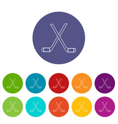 two crossed hockey sticks icons set color vector image
