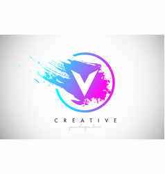 V artistic brush letter logo design in purple vector