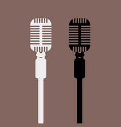 Vintage retro microphone mockup with front view vector