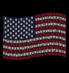 waving american flag stylization of uncle sam hat vector image