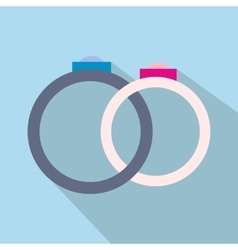 Wedding rings flat icon vector image