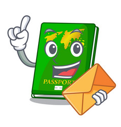 With envelope green passport in the cartoon shape vector