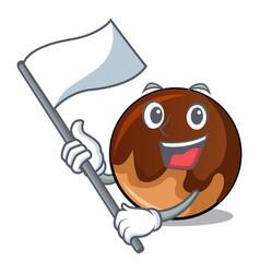 With flag chocolate donut mascot cartoon vector