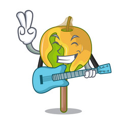 With guitar candy apple mascot cartoon vector