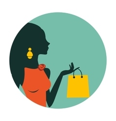 An of beautiful woman shopping vector image