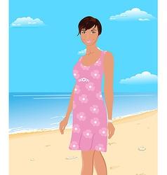 beautifu girl on beach vector image vector image