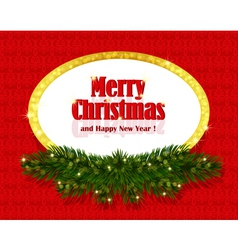 Christmas red background with sparkling frame vector image vector image