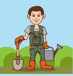 happy gardener standing with his garden tool vector image vector image