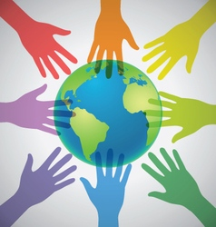 Many Colorful Hands surrounding the Earth Globe vector image vector image