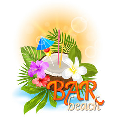 beach bar background with coconut cocktail vector image vector image