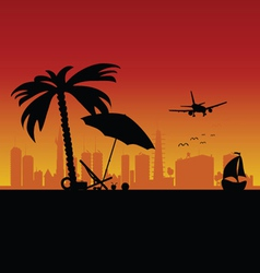 city with boat and beach stuff art vector image vector image