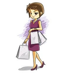 cute shopping girl vector image vector image