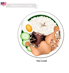 Nasi Lemak or Malaysian Rice with Coconut Milk vector image vector image