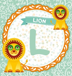 ABC animals L is lion Childrens english alphabet vector image