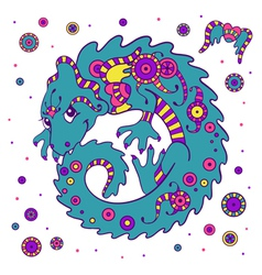 Cute little dragon in ethnic style vector image