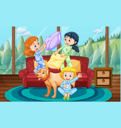 girls playing pillow fight with friends at home vector image vector image