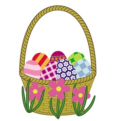 basket with easter eggs preview vector image
