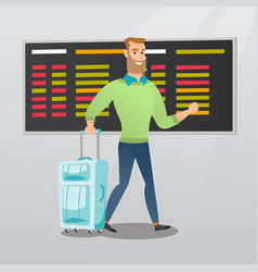 Caucasian man walking with suitcase at the airport vector