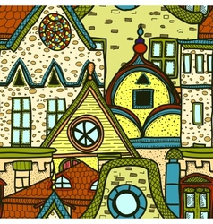 Hand-drawn seamless pattern with old town vector image