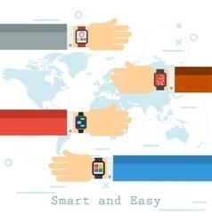 Hands with smart clock vector image