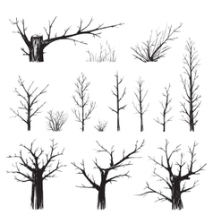 Scratchy Trees Collection in Black Silhouettes vector image