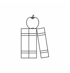 Stack of books and apple icon outline style vector image vector image