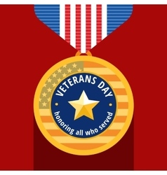 veterans day flat medals icons vector image vector image